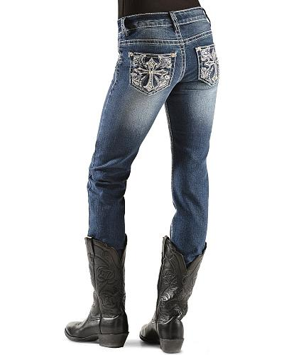 Red Ranch Girls Embroidered Cross Studded Jeans 4-6X Western & Country TAJ-006A 4-6X