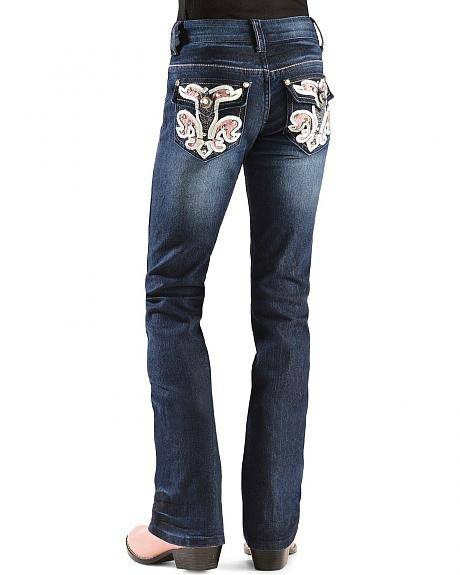 Red Ranch Girls' Rhinestone Embellished Back Pocket Applique Jeans - 4-6X