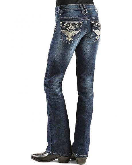 Red Ranch Girls' Winged Rhinestone Jeans 7-14