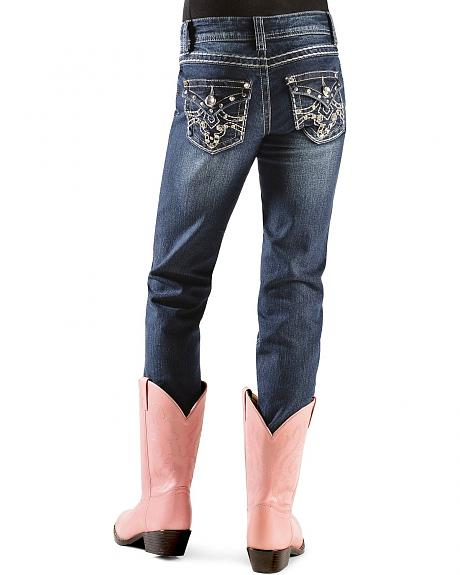 Red Ranch Girls' Rhinestone Embellished Embroidered Back Pocket Jeans - 4-6X
