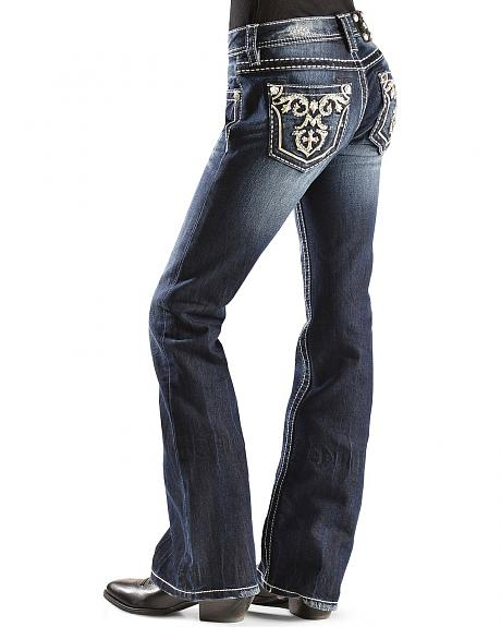 Miss Me Girls' Scroll Leather Applique Pocket Jeans - 7-14