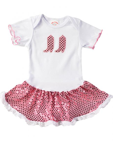 Kiddie Korral Infant Girls' Sequin Boots & Skirt Bodysuit Dress - 6M-24M