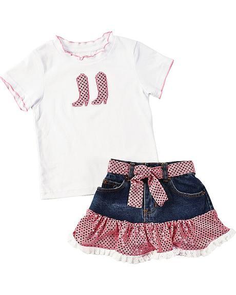 Kiddie Korral Toddler & Girls' Sequin Boot Top w/ Sequin Denim Skirt Set - 2-6