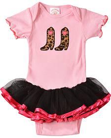 Kiddie Korral Infant Girls' Cowgirl Boots w/ Attached Tutu Bodysuit - 6M-24M