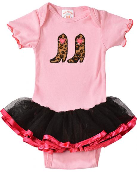 Kiddie Korral Infant Girls' Cowgirl Boots w/ Attached Tutu Bodysuit - 6M-24M