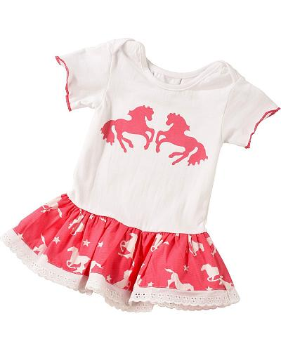 Red Ranch Infant Girls Pink Bandana Horse Dress 3M-18M Western & Country KKGI-103
