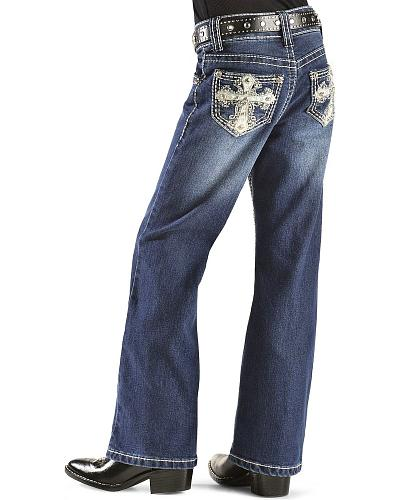 Red Ranch Embellished Wing Embroidered Jeans 4-6X Western & Country KK-1422 4-6X