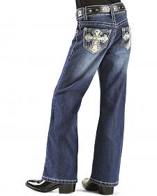 Red Ranch Embellished Wing Embroidered Jeans - 4-6X