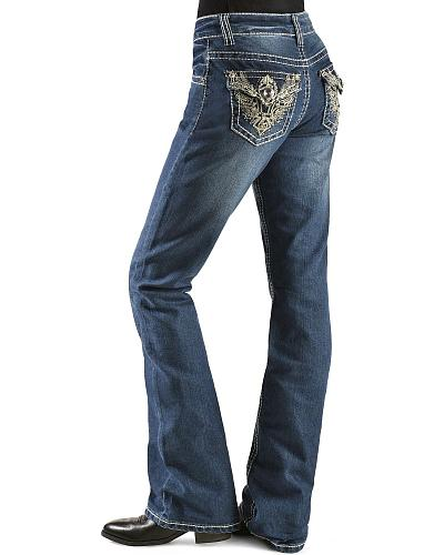 Red Ranch Girls Rhinestone Wing Embroidered Jeans 4-6X Western & Country KK-1423 5-6X