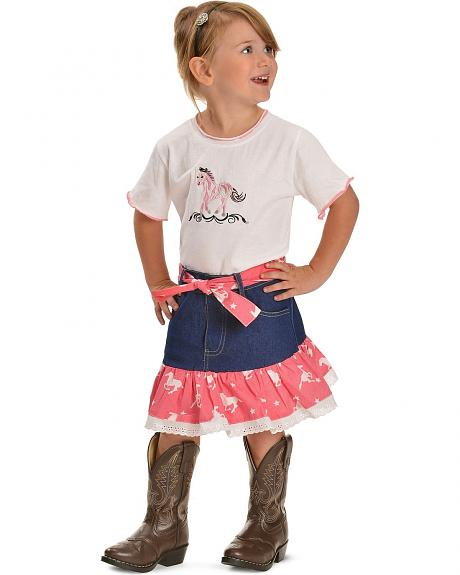 Red Ranch Toddler Girls' Two-Piece Horse Print Denim Skirt Set - 2T-4T
