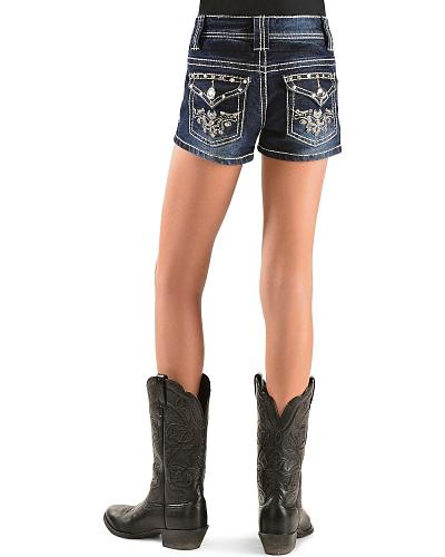 Red Ranch Girls Rhinestone & Stud Embroidered Shorts 7-14 Western & Country TJ-008 SHORT 7-14