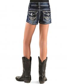 Red Ranch Girls' Rhinestone & Stud Embroidered Shorts - 4-6X