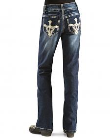 Red Ranch Girls' Cross Applique Jeans - 4-6X