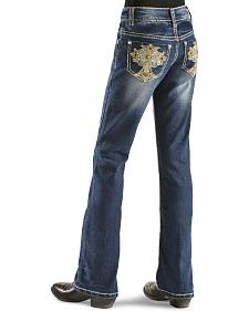Red Ranch Girls' Fancy Rhinestone Cross Jeans - 4-6X