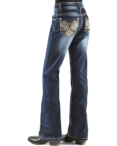 Red Ranch Girls Multi Color Swirling Embroidery Jeans 7-14 Western & Country GP-0035_7-14