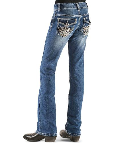 Red Ranch Girls Floral Design Jeans 7-14 Western & Country GP-0046_7-14