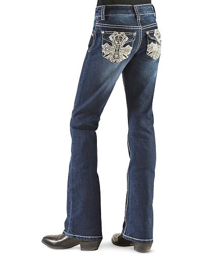 Red Ranch Girls Bold Cross Rhinestone Embroidered Jeans 4-6X Western & Country GP-0041_4-6X