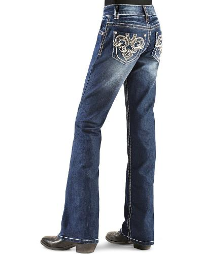 Red Ranch Girls Fleur-De-Lis Rhinestone Embroidered Jeans 7-14 Western & Country DJ-0112_7-14