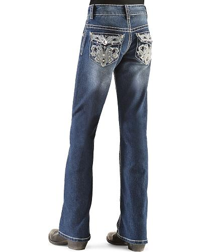 Red Ranch Girls Heavy Floral Stitched Rhinestone Jeans 4-6X Western & Country DJ-0102_4-6X