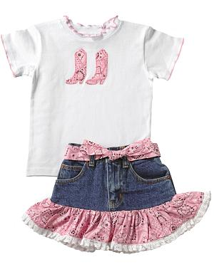Kiddie Korral Cowgirl Boots Bandana Skirt Set - 2-6