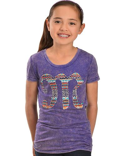 Miss Me Girls Embroidered Logo Tee Western & Country KDT483 PURPLE