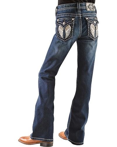 Miss Me Girls Embellished Angel Wings Bootcut Jeans Western & Country JK7107B