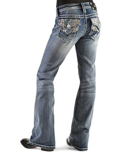 Miss Me Girls Embroidered Lace Bootcut Jeans Western & Country JK8195B MED 265