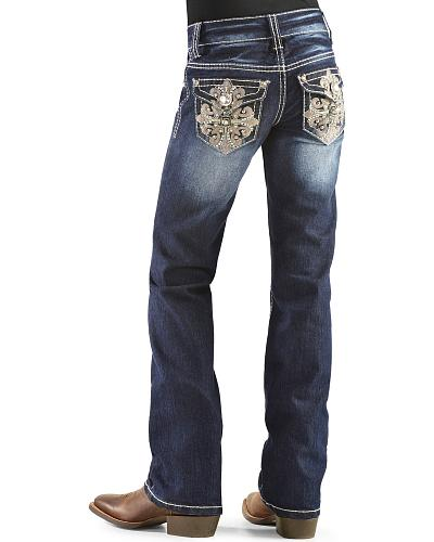 Red Ranch Girls Embellished Crown Bootcut Jeans 4-6X Western & Country GP-0058 4-6X