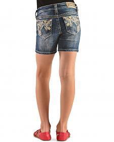 Grace in L.A. Girls' Floral Embroidered Denim Shorts