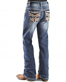 Red Ranch Girls' Fleur de Lis Bootcut Jeans - 4-6X
