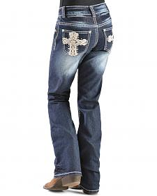 Red Ranch Girls' Cross Embellished Bootcut Jeans - 4-6X