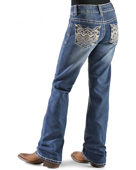 Red Ranch Girls' Zig-Zag Embellished Bootcut Jeans - 4-6X