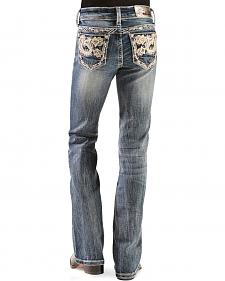 Grace in L.A. Girls' Gold Paisley Bootcut Jeans - 7-16