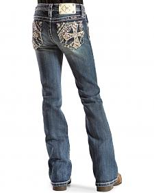 Miss Me Girls' Embroidered Cross Bootcut Jeans - 7-14