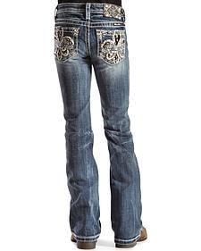 Miss Me Girls' Fleur de Lis Bootcut Jeans - 7-14