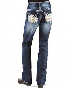 Red Ranch Girls' Winged Cross Stitch Bootcut Jeans - 4-6X