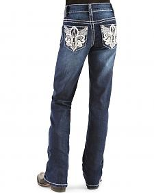 Red Ranch Girls' Fleur de Lis Wings Bootcut Jeans - 4-6X