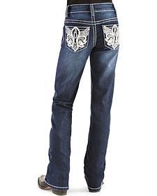Red Ranch Girls' Fleur de Lis Wings Bootcut Jeans - 4-6X