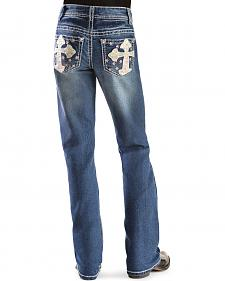 Red Ranch Girls' Pastel Cross Stitch Bootcut Jeans - 7-14