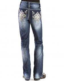 Red Ranch Girls' Embroidered Rhinestone Cross Stitch Bootcut Jeans - 4-6X