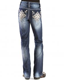 Red Ranch Girls' Embroidered Rhinestone Cross Stitch Bootcut Jeans - 7-14