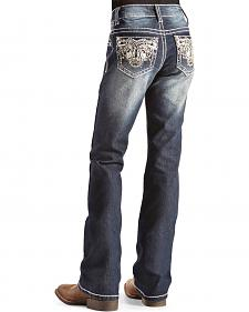 Red Ranch Girls' Embroidered Scroll Jeans -  7-14