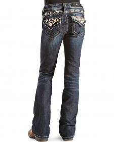 Miss Me Girls' Rhinestone and Rivets Embellished Jeans
