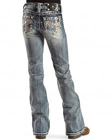 Miss Me Girls' Cross and Wings Embellished Pocket Jeans