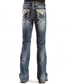Grace in L.A. Girls' Flap Pocket Jeans with Stones and Embroidery