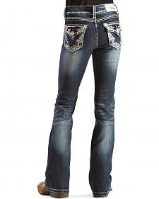 Grace in L.A. Girls' Flap Pocket Paisley Stitched Jeans