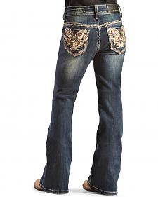 Grace in L.A. Girls' Gold Embellished Bootcut Jeans - 7-16