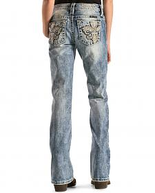 Miss Me Girls' Embroidered Fleur De Lis Pocket Jeans - Boot Cut