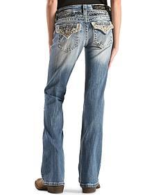 Miss Me Girls' Embellished Back Flap Pocket Jeans - Boot Cut