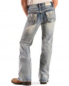 Grace in L.A. Girls' Aztec Embellished Bootcut Jeans - 4-6X